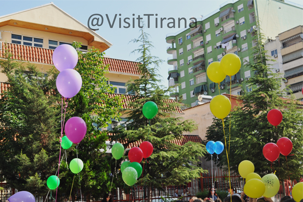 The atmosphere of Children Day in Tirana