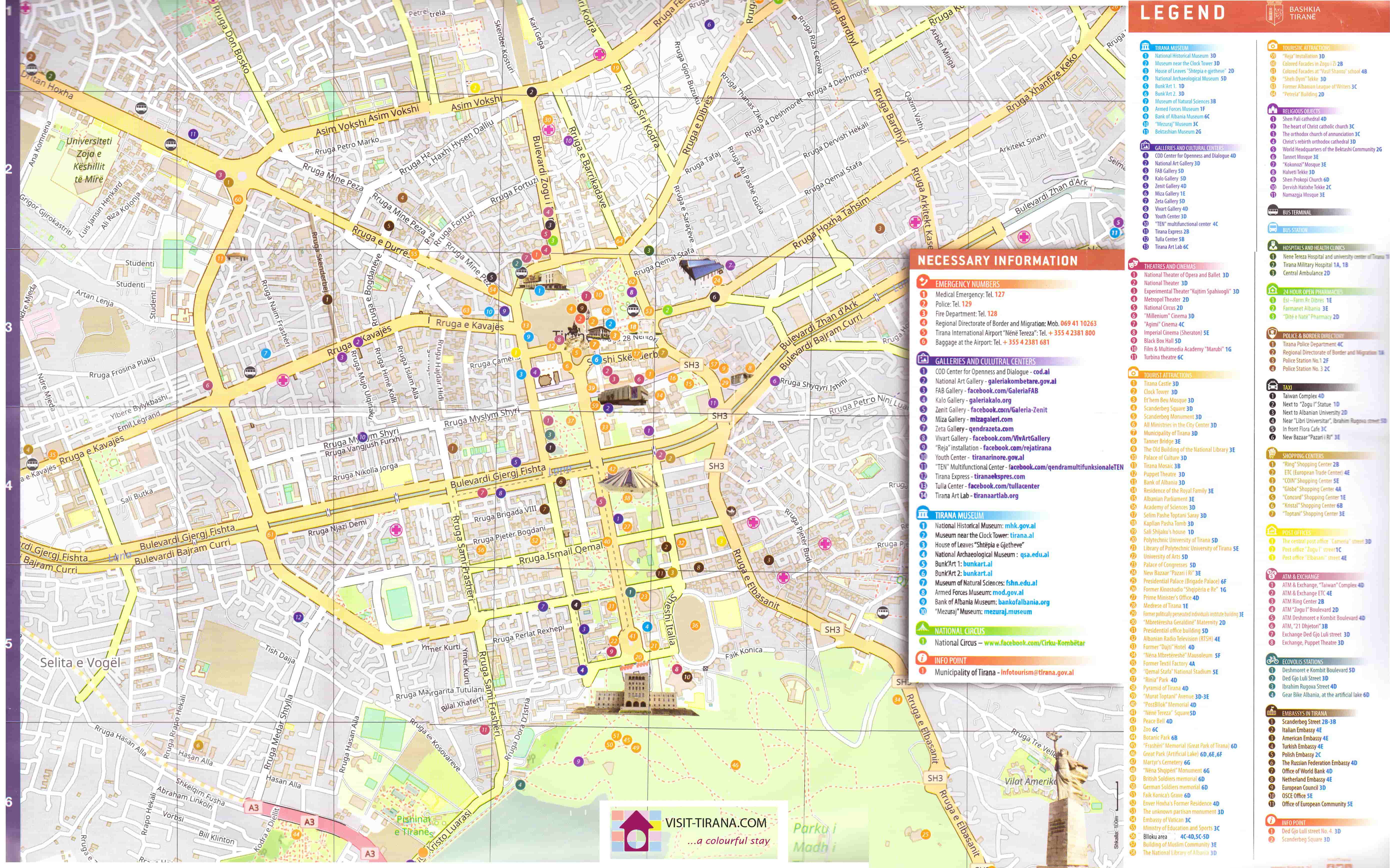 Tirana Map Map of Tirana Tirana places Tirana location