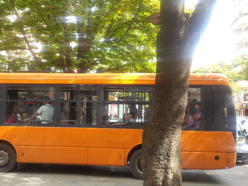 By bus in Tirana, Albania