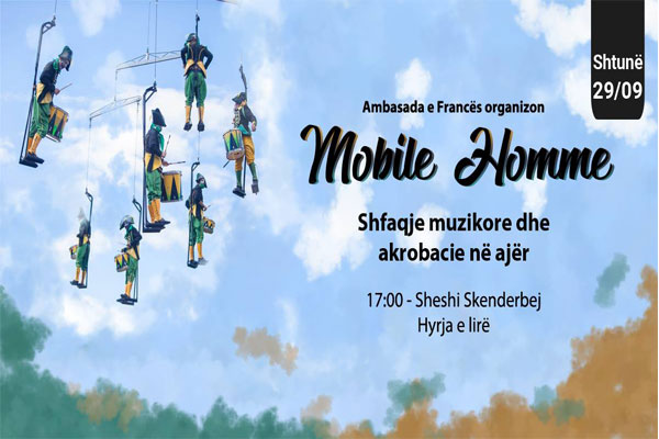 Mobile Homme - Musical performances and acrobatics in the air, musical performances in tirana, acrobatics performances in tirana, events in tirana, circus in tirana, music in tirana