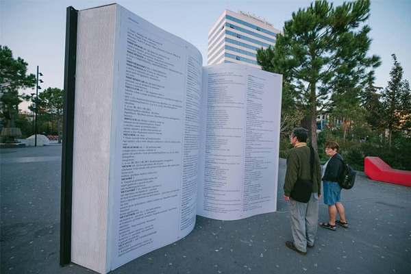 Giant Book installation in Tirana