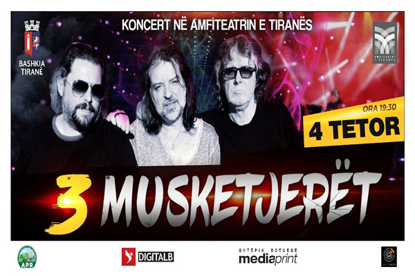 Concert 3 Musketeers at Tirana Amphitheater, concert in tirana, events in tirana