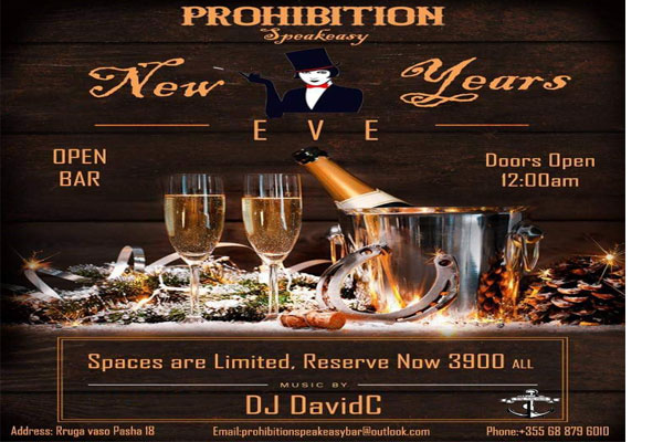 New Year's Eve afterparty at Prohibition bar Tirana 2018