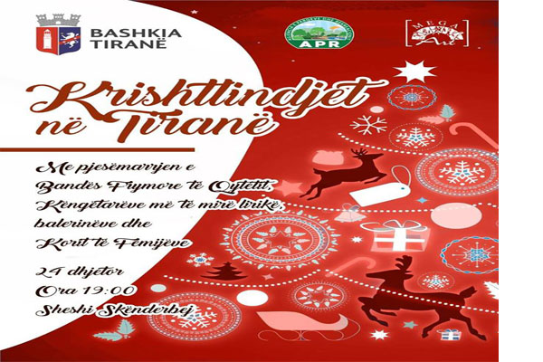Christmas concert at Skanderbeg square in Tirana