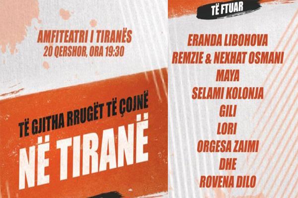 Të gjitha rrugët të çojnë në Tiranë-koncert