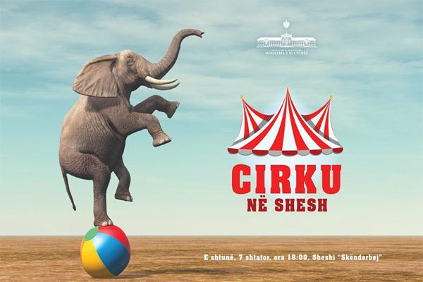 Shfaqje cirku në sheshin Skënderbej